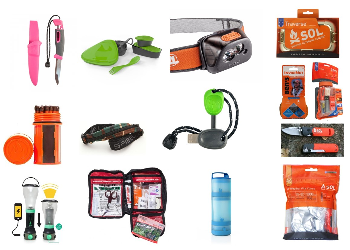 Camping gear firestarters matches survival kits headlamps