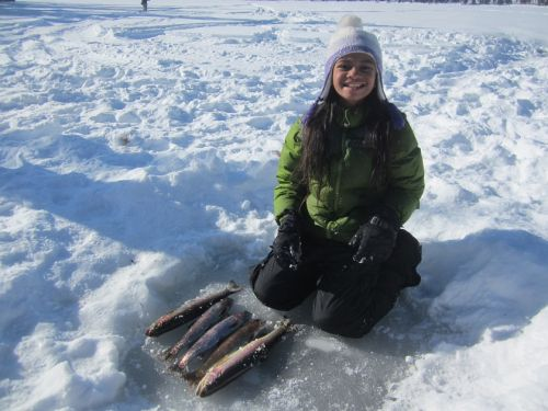 Ice fishing for stocked rainbow trout