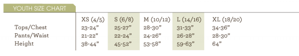 ColdPruf baselayer youth size chart