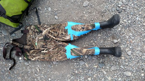Waders ready with masking tape ready to spray