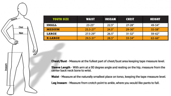 ScentBlocker Youth Size Chart