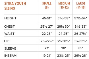 Sitka Youth Sizing Chart png