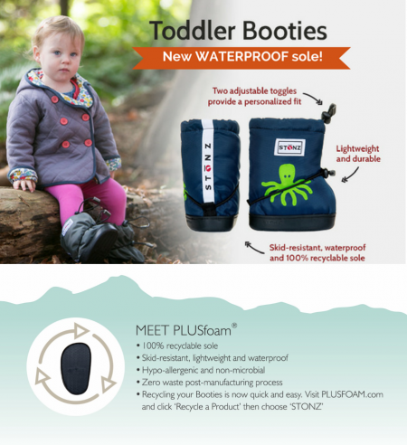 Stonz toddler booties waterproof skidproof PlusFoam sole