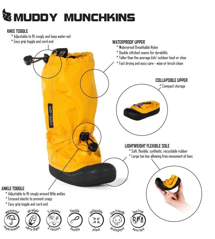 Muddy Munchkin toddler boot features